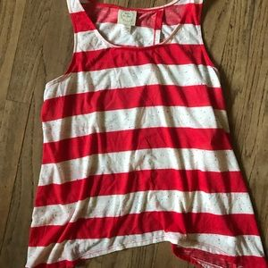 Red & White Striped Open Back Tank